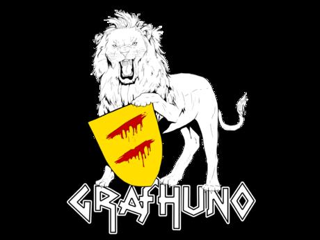 Löwe mit Schild vom Wappen von Graf Huno