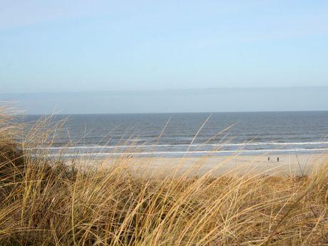 Blick von einer Düne auf die Nordsee und den Strand von Juist