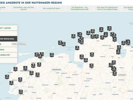 Eine Karte als Übersicht über barrierefreie Angebote in der Wattenmeerregion