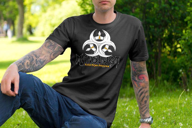 Ein Mockup eines T-shirts mit dem Manslagt Wappen