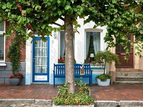 Außenaufnahme eines Hauses in Weener mit Bäumen im Vordergrund