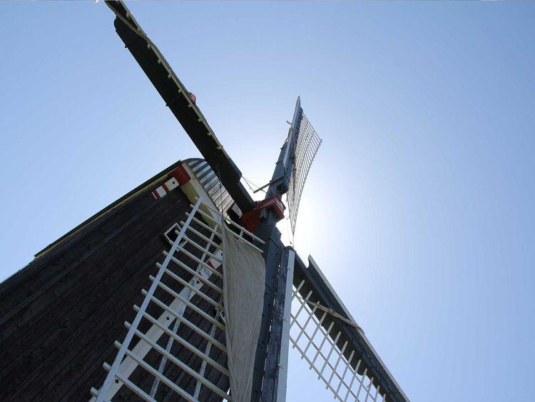 Blick von unten hoch zur Bockwindmühle in Dornum