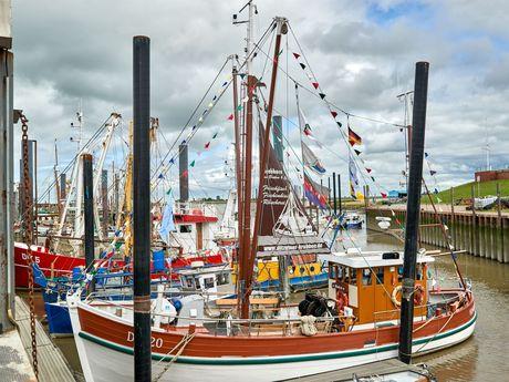 Krabbenkutter liegt im Hafen von Ditzum