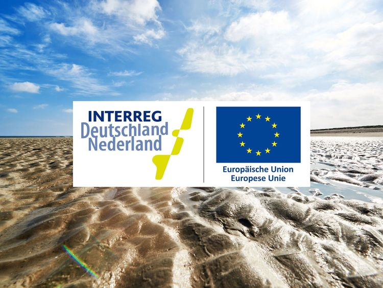 Das Logo der Interreg Deutschland Niederlande auf einem Wattenmeer Foto