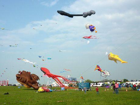 Große Drachen steigen in den Himmel beim Drachenfest in Norddeich