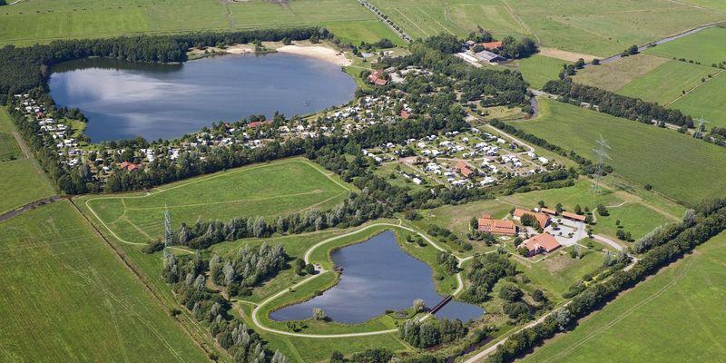 Luftaufname vom Freizeitpark am Emsdeich in Westoverledingen