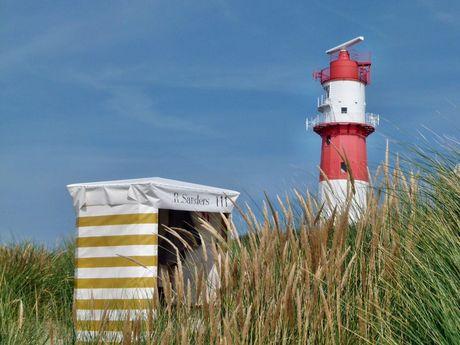 Blick auf den rot/weiss gestreiften kleinen Leuchtturm von Borkum