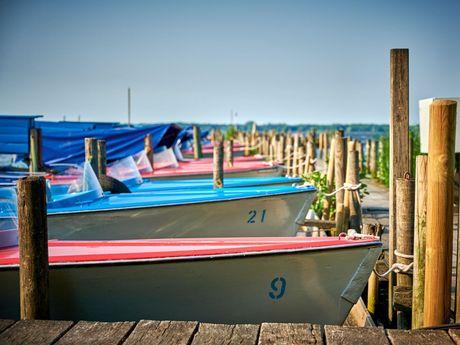Bunte Tretboote am Anleger im Zwischenahner Meer