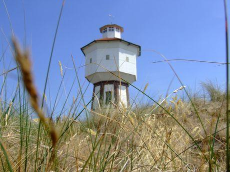Blick durch das Dünengras auf den Wasserturm von Langeoog