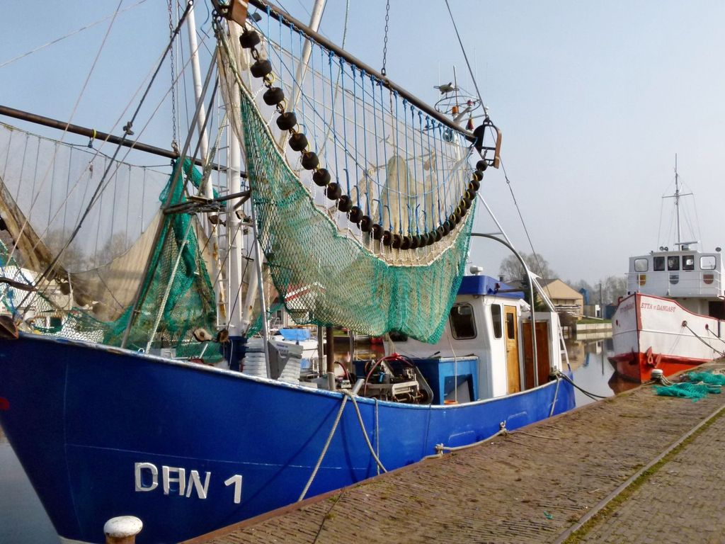 Ein blauer Fischkutter liegt im Vareler Hafen