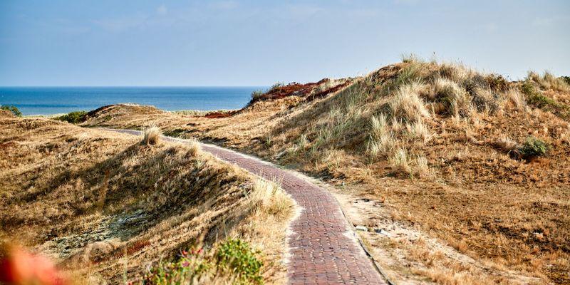 Weg durch die Dünen auf Langeoog mit Nordsee im Hintergrund