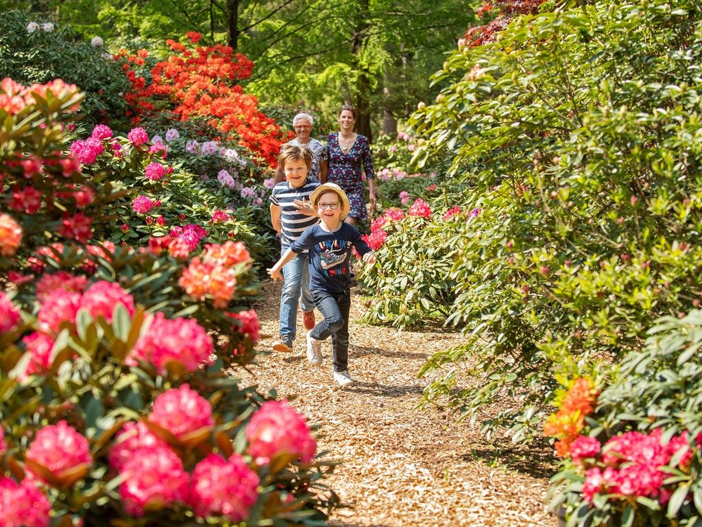 Spazierende Familie im Rhododendronpark in Westerstede